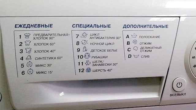 Значки на стиральной машине Ariston